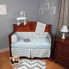 Zig Zag Crib Bedding Set Chevron Zig Zag Blue And Gray 4 Baby Crib