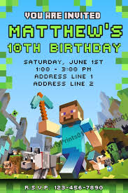 minecraft birthday invitations custom birthday invitations free printable 2 best invitations