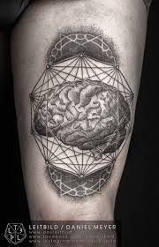 awesome collage of geometric shapes and brain tattoo on thigh by