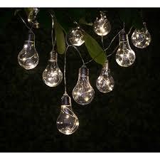 solar string lights solar light bulb string lights 10pk garden lights b m