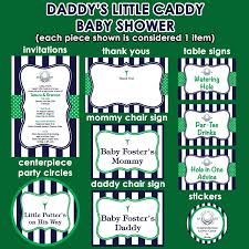 s caddy golf theme baby shower invitations and