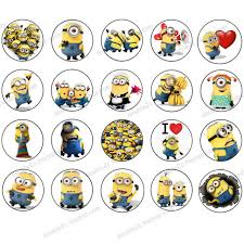 minions cake toppers wafer paper for cup cake topper minion minions birthday party