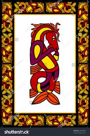 celtic ornamental frame horses stock vector 38090488