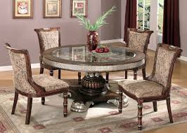 two tone traditional 5 piece dining room set w clear glass inlay