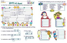 grammar worksheets grade 3 gender of nouns