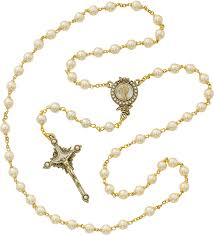 gold rosary glass pearl gold rosary