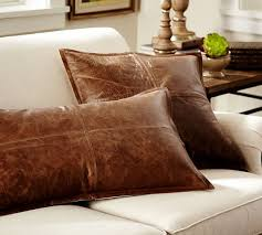 Sofa Pillow Cases Pieced Leather Pillow Cover Pottery Barn