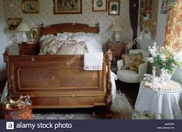 Armchair In Bedroom Pine Double Bed And White Armchair In Small Bedroom With White