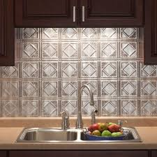 In X  In Traditional  PVC Decorative Backsplash Panel In - Home depot tile backsplash