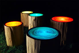glowing tree ring tables light up the