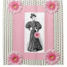 Pink Flower Curtains Victorian Floral Shower Curtains Zazzle