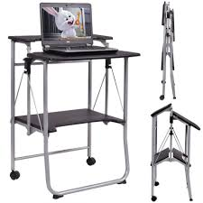 Small Rolling Computer Desk Portable Laptop Cart Workstation Computer Stand On Wheels Portable