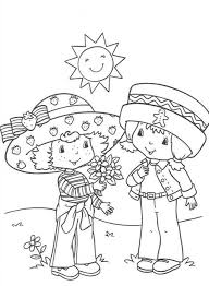 with friend strawberry shortcake coloring page cartoon coloring