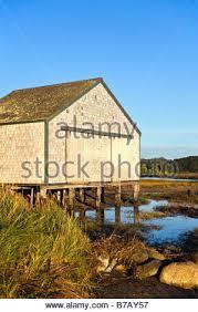Nauset Marsh Cape Cod - boathouse on salt pond nauset marsh eastham cape cod stock