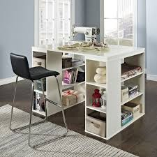 Tall Computer Desk With Shelves Counter Height Desk With Storage