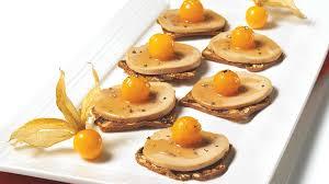 canap foie gras port and armagnac foie gras with honey glazed ground cherries iga