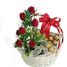 chocolate flowers send basket of roses and chocolate online by giftjaipur in rajasthan