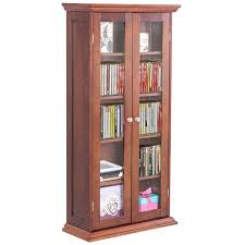cd cabinet with doors costway 44 5 wood media storage cabinet cd dvd shelves tower glass
