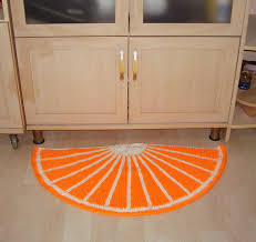 Half Round Kitchen Rugs Orange Decor Door Mat Half Round Rug Orange Rug Hand Knit Rug