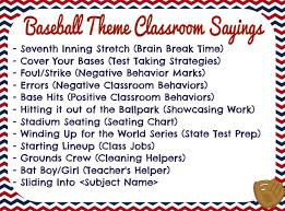 themed sayings fifth grade dugout baseball theme classroom sayings sports