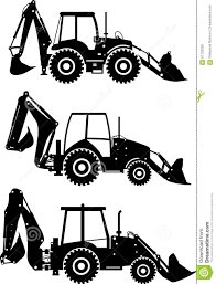 jeep off road silhouette set of different silhouettes backhoe loaders on white background