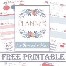 printable menu planner pages planner 2018 free printable calander meal planner save money