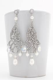 Chandelier Pearl Earrings For Wedding Bridal Chandelier Earrings Bridal Statement Earrings Pearl
