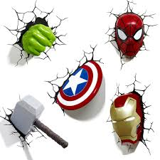marvel avengers 3d wall light hulk iron man captain america