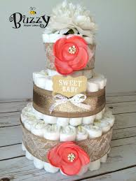 Shabby Chic Baby Shower Cakes by Shabby Chic Gold Burlap And Coral Diaper Cake For Shabby Chic