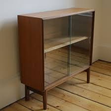Glass Bookcase With Doors Vintage Bookcase With Glass Sliding Doors Hayburn Vintage