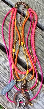 long orange necklace images Orange and pink glass bohemian tribal long layered pendant necklace JPG
