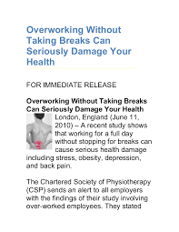 personal profile on resume overworking without taking breaks can seriously damage your health