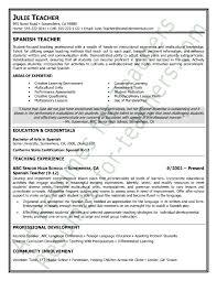 sample cv for teacher job resume spanish teacher resumess memberpro co