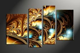 Home Decor Canvas Art by 5 Piece Abstract Decor Colorful Oil Paintings Multi Panel Canvas