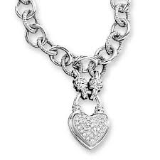 sterling silver heart necklace images 1 4 ct t w diamond heart link necklace in sterling silver view jpg