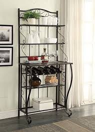 Storage Bakers Rack Amazon Com 5 Tier Black Metal Cappuccino Finish Shelf Kitchen