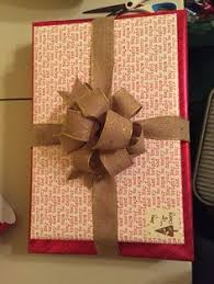 wrapping paper from hobby lobby and ribbon from costco wrapping
