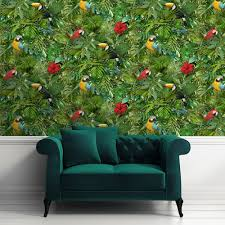 muriva tropical bird pattern wallpaper jungle flower leaf vinyl l12304