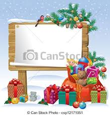 clipart vector of christmas wooden sign board decorating the