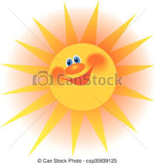 the stylized image of a smiling sun with rays vector illustration
