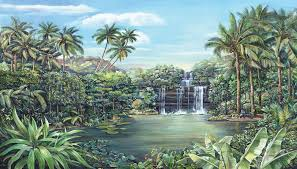 wall murals for every room bed bath and more tropical lagoon wall mural