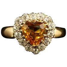citrine engagement rings antique citrine diamond gold heart ring at 1stdibs