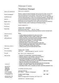 warehouse job description resume sample warehouse management