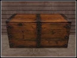 re old wood trunk w iron bands one prim vintage chest decor