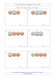 Coin Worksheets Counting Small Collections Of New Zealand Coins No Dollars A