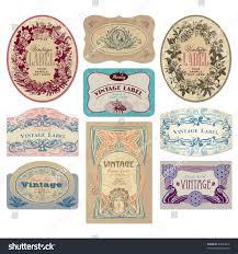 set 9 ornate vintage labels vector stock vector 54823672