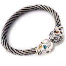skull bangle bracelet images Graffiti and smooth vintage skull cable bangle bracelet bill 39 s way jpeg