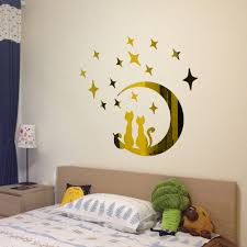 compare prices on childrens sticker wall online shopping buy low diy moon cat modern acrylic plastic mirror sticker ar hall bedroom wall stickers childrens bedrooms