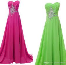 stock pink lime green long prom dresses chiffon beading stone