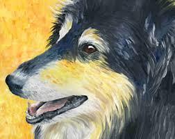 corgi x australian shepherd welsh corgi art print of oil painting 8 x 10